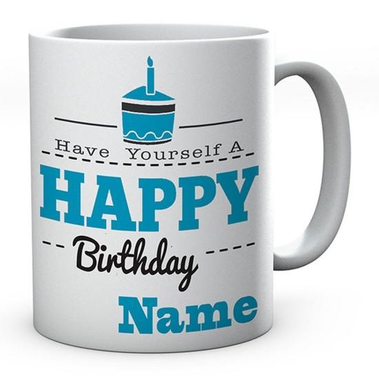 Personalised Happy Birthday Blue Cake Mug Novelty Gift Ideal Coffee / Tea