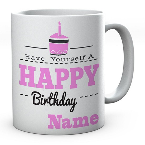 Personalised Happy Birthday Pink Cake Mug Novelty Gift Ideal Coffee / Tea
