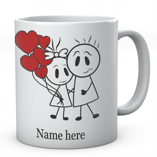 Stick People With Heart Balloons Personalised Ceramic Mug