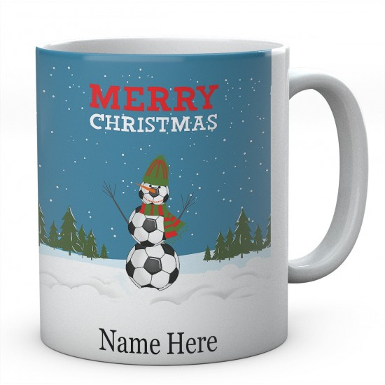 Merry Christmas Football Snowman Personalised Ceramic Mug