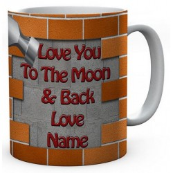 DIY Father's Day Ceramic Mug (love You To The Moon & Back Love Name)