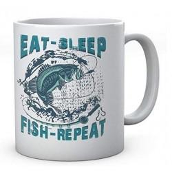 Eat Sleep Fish Repeat - Fishermen's Personalised Ceramic Mug