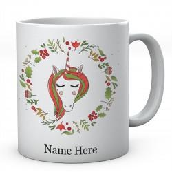 Unicorn Christmas Wreath Personalised Ceramic Mug