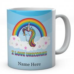 I Love Unicorns Rainbow Personalised Printed Ceramic Mug