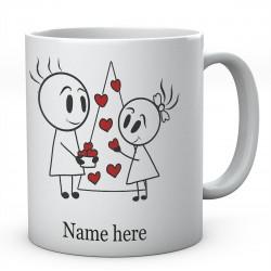 Stick People Putting Hearts On Tree Together Valentine Personalised Ceramic Mug