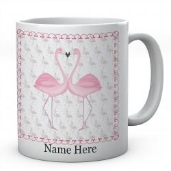 Flamingo love heart Personalised Ceramic Mug