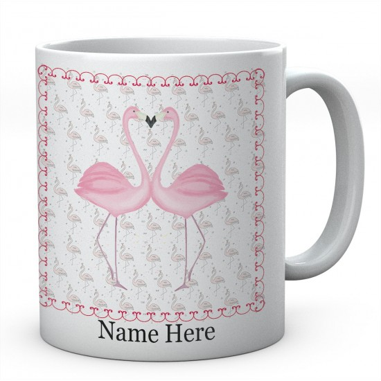 Flamingo love heart Personalised Ceramic Mug