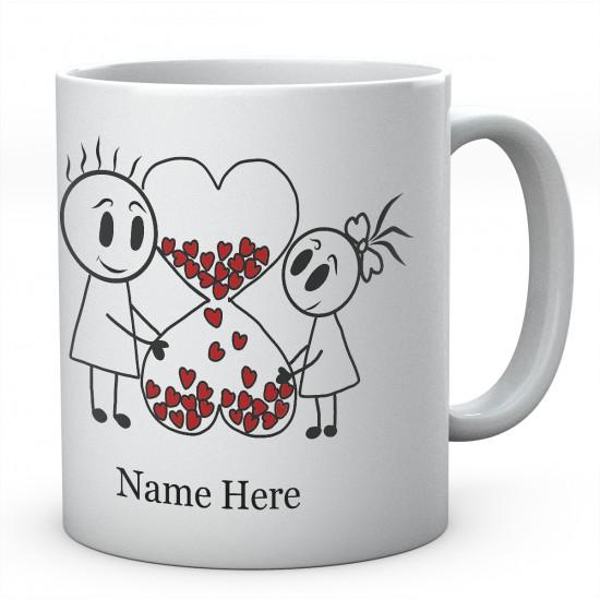 Lots Of Hearts Love Valentine Personalised Ceramic Mug