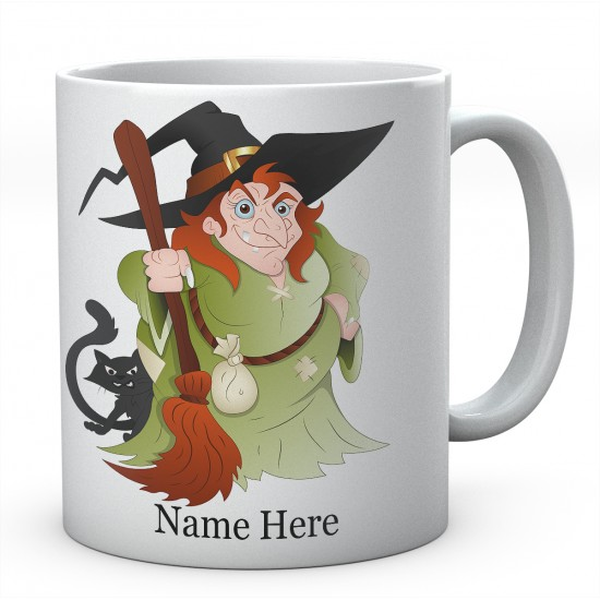 Witch And Broom Personalised Mug