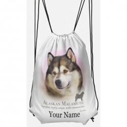 Personalised Alaskan Malamute Drawstring Gym Bag