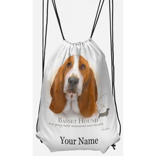 Personalised Basset Hound Drawstring Gym Bag