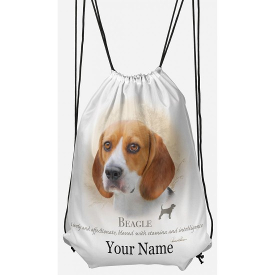 Personalised Beagle Drawstring Gym Bag