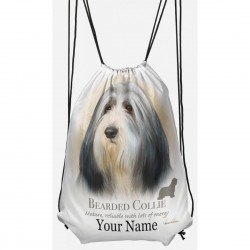 Personalised Bearded Collie Drawstring Gym Bag
