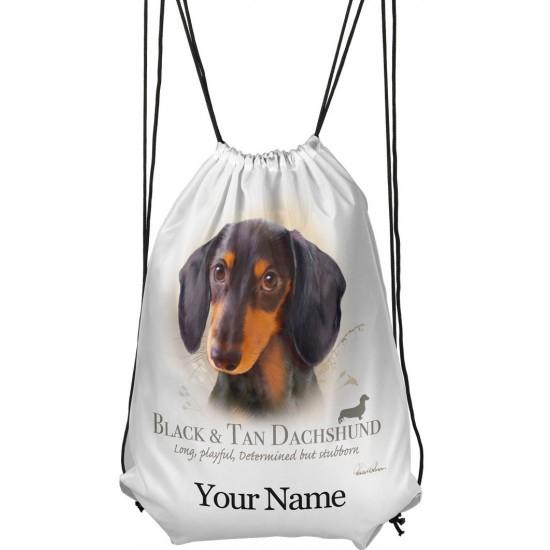 Personalised Black And Tan Dachshund Drawstring Gym Bag