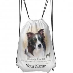 Personalised Border Collie Drawstring Gym Bag