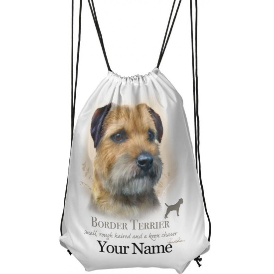 Personalised Border Terrier Drawstring Gym Bag
