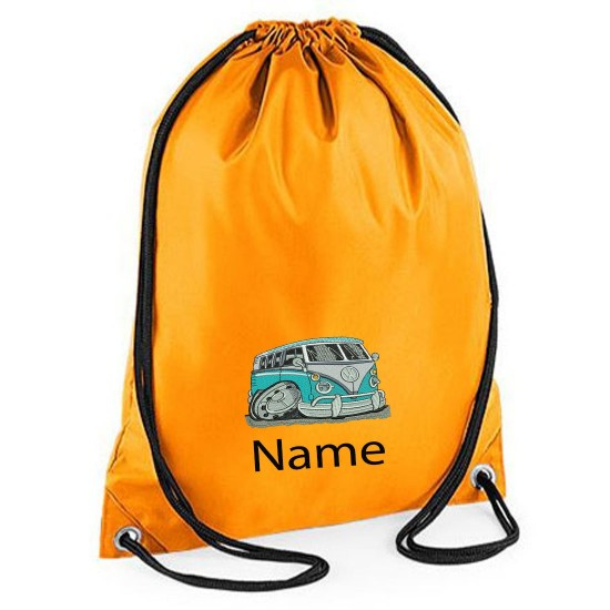 Embroidered Blue Camper Van Drawstring Gym Bag