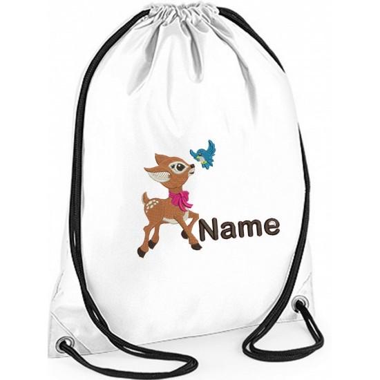 Embroidered Personalised Baby Deer Gym Bag