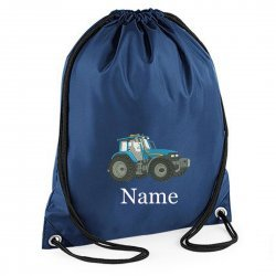 Personalised Embroidered Blue Tractor Drawstring Gym Bag