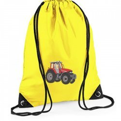 Personalised EMBROIDERED Red Tractor Drawstring Gym Bag