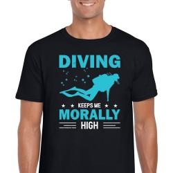 Diving Keeps Me Morally High Unisex Black T Shirt