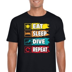 Eat Sleep Dive Repeat Unisex Black T Shirt