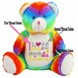 Embroidered Love You To The Moon & Back Rainbow Bear