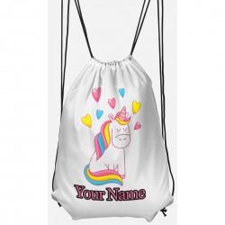 Personalised Love Heart Unicorn Gym Bag