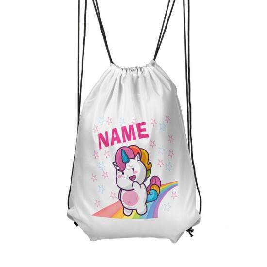 Personalised Shy Unicorn Gym Bag