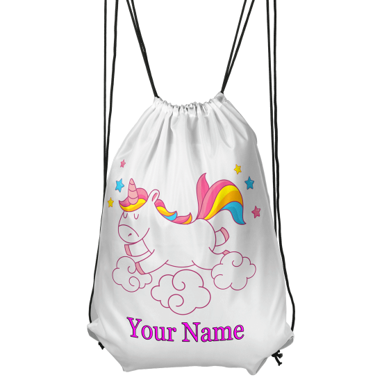 Personalised Unicorn And Clouds Drawstring Gym Bag