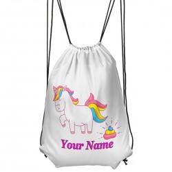Personalised Unicorn Poop Drawstring Gym Bag