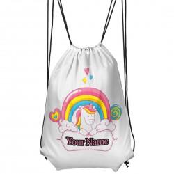 Personalised Unicorn Rainbow and sweets Drawstring Gym Bag