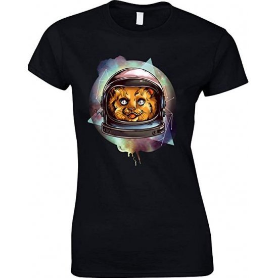 Cosmic Space Kitty, Novelty Funny Ladies T-Shirt
