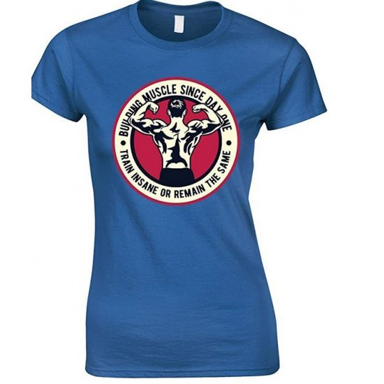 Building Muscle Since Day One Train Insane Or Remain The Same-Ladies T Shirt