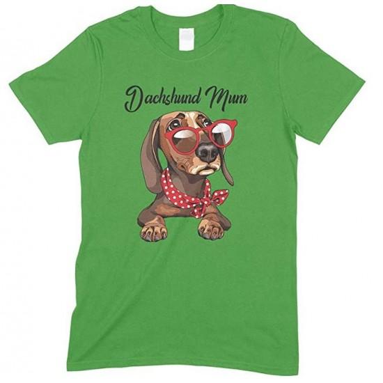 Children's- Funny Dachshund Wearing Red Glasses Dog Mum -T Shirt Boy-Girl