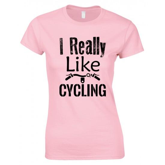 I Really Like Cycling-Ladies Bicycle T Shirt