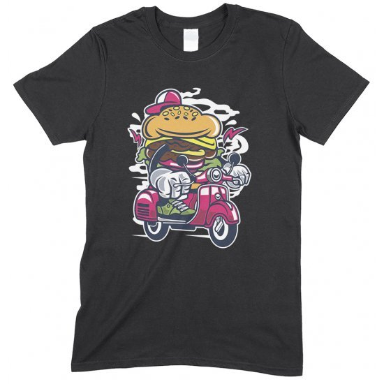 Burger scooter Cartoon - Children's Funny T Shirt Boy-Girl