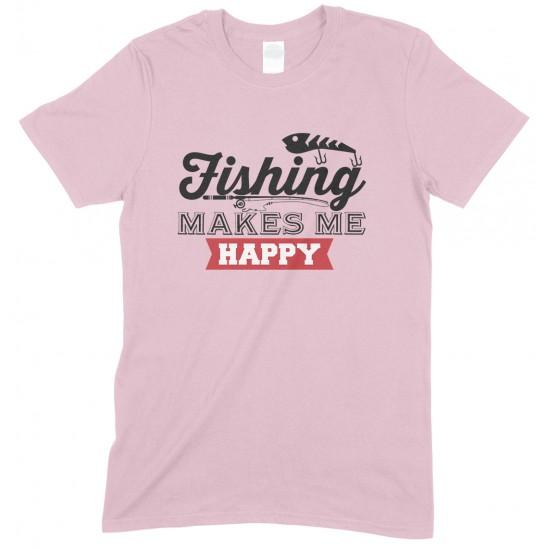 Fishing Makes Me Happy-Adults Fishing T Shirt