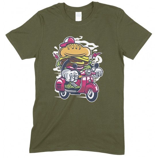 Burger Scooter ,Men's Novelty Funny T Shirt