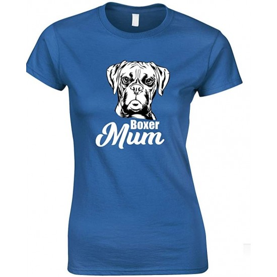 Boxer Face Dog Mum-Ladies T Shirt
