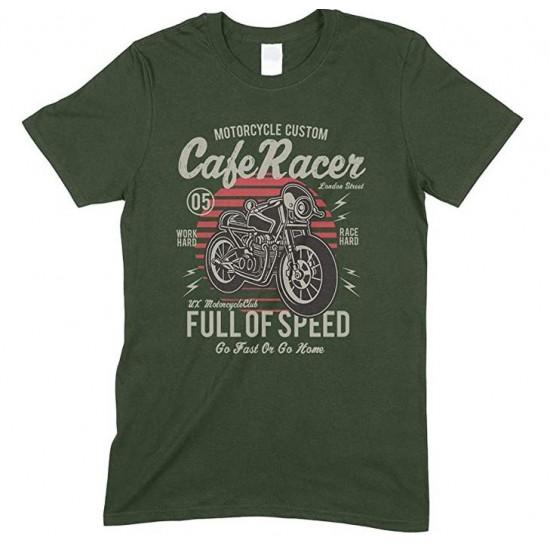 Motorcycle Custom Cafe Racer Full of Speed Go Fast Or Go Home -Men's Unisex T Shirt
