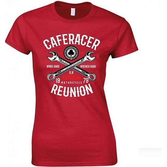 Caferacer Reunion Motorcycle London UK Ladies T Shirt