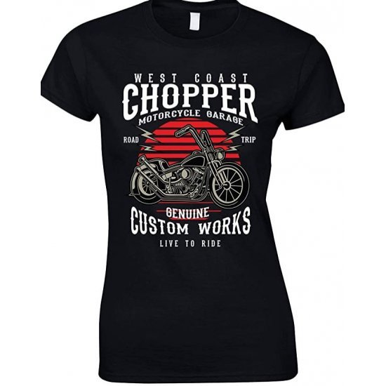 Ladies -West Coast -Chopper Motorcycles Garage- Live to Ride T-Shirt