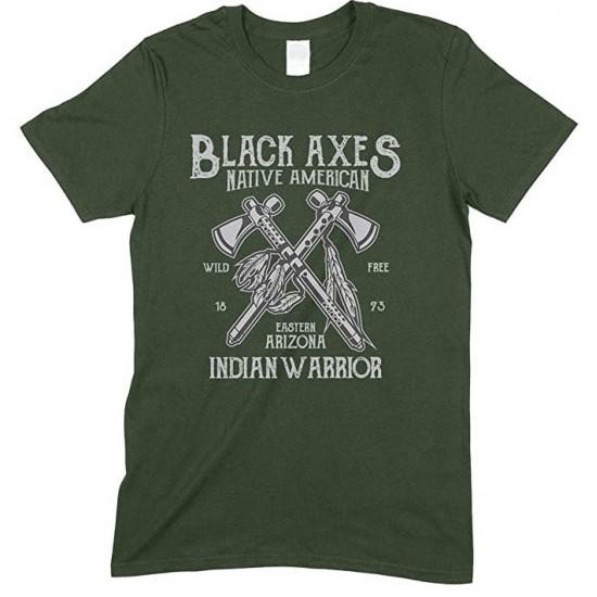 Black Axes Native American Indian Warrior - Men's T Shirt