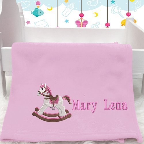 Personalised Pink Rocking Horse Baby Blanket