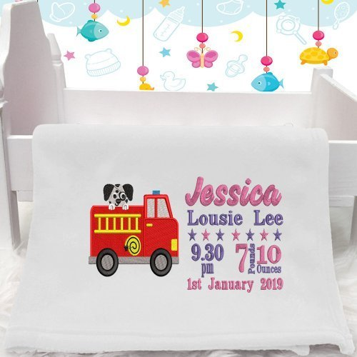 Personalised Fire Engine Baby Blanket