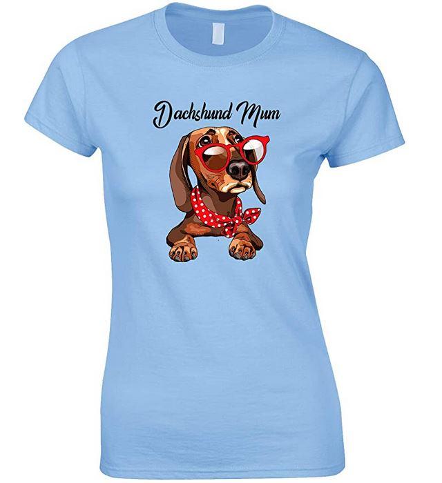 Funny Cute Dachshund Wearing Red Glasses Dog Mum-Ladies T Shirt