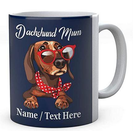Cute Funny Dachshund Wearing Red Glasses Dog Mum- Mug With Name