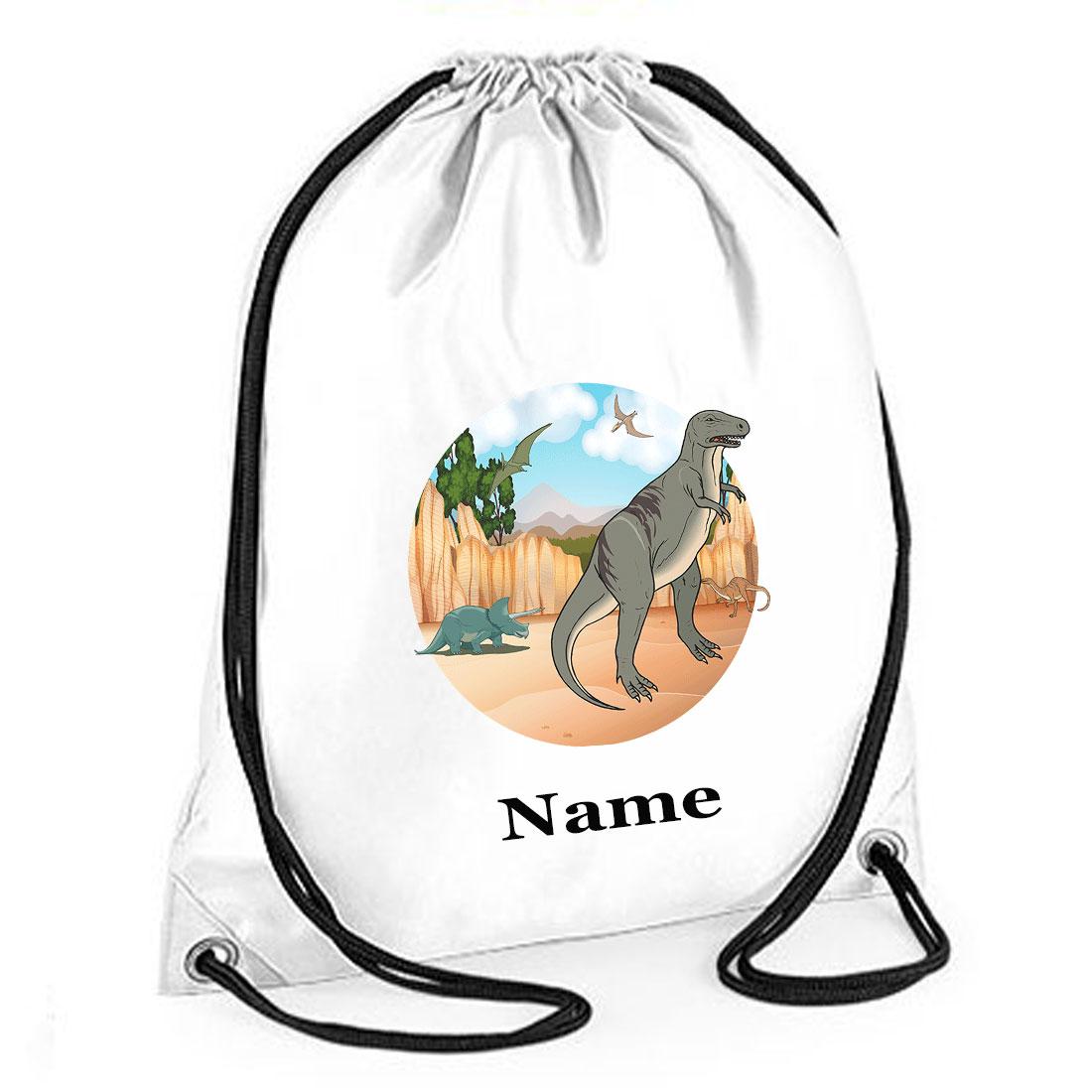 Personalised Drawstring Dinosaur (Two) Gym Bag