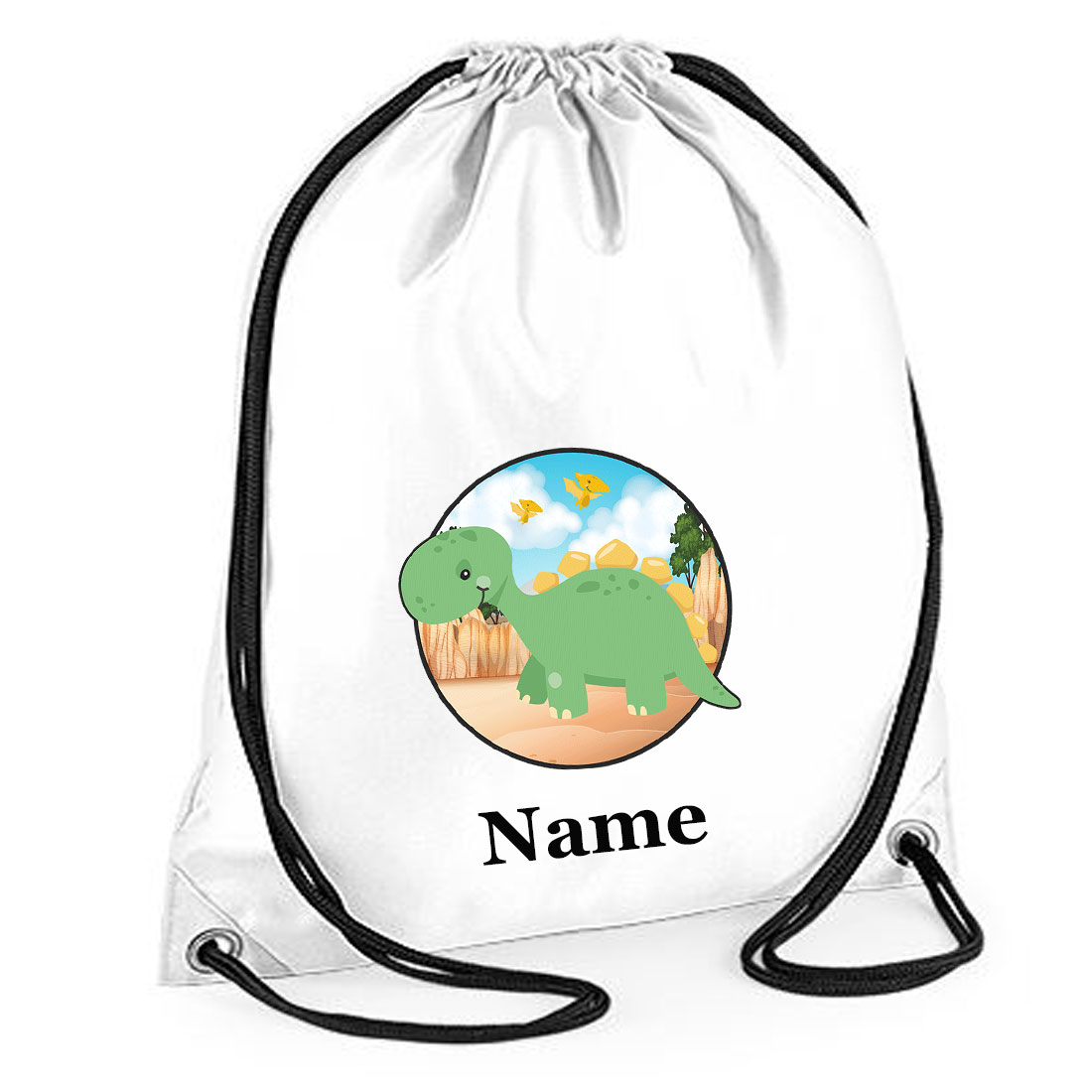 Drawstring Personalised Dinosaur Printed Gym Bags